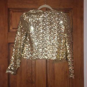 BB Dakota Jackets & Coats - BB Dakota Gold Sequin Jacket